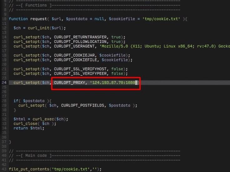 «CURLOPT_PROXY» girin ve ardından proxy sunucu verilerini belirtin