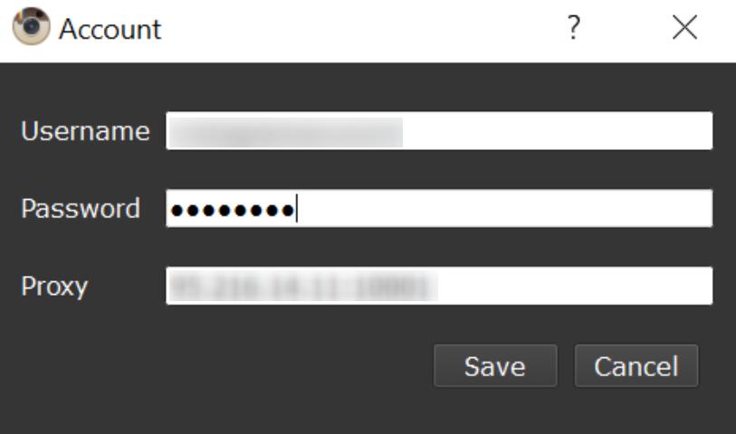Hesabı eklerken veya düzenlerken bir anda proxy sunucusunu bir hesaba manuel olarak atayabilirsiniz.