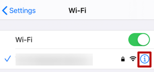 Bağlandığınız Wi-Fi ağının yakınında bulunan «i» düğmesine basın