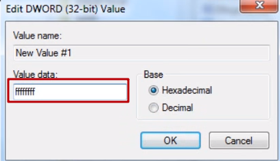Bu parametrenin (ffffffff) değerini ondalık olarak değil, onaltılık olarak ayarladık