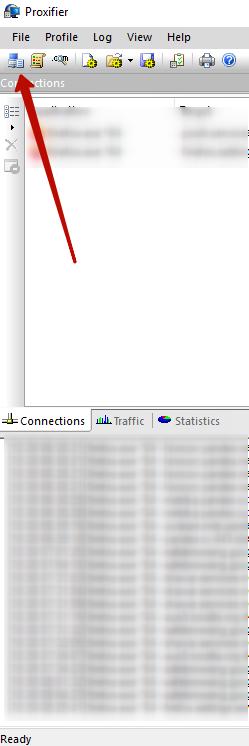 Proxifer programını açın, Proxy Servers'ı tıklayın