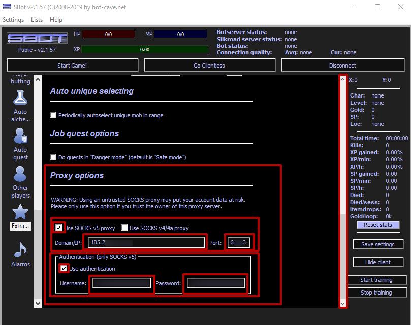 «SOCKS v5 proxy kullan» ve «Kimlik doğrulama kullan» seçeneğini işaretleyin.  IP, bağlantı noktası, oturum açma ve şifre verilerini girin.