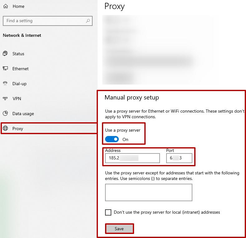 Alanları satın alınan proxy sunucu verileriyle doldurun.  «Kaydet» düğmesine basın