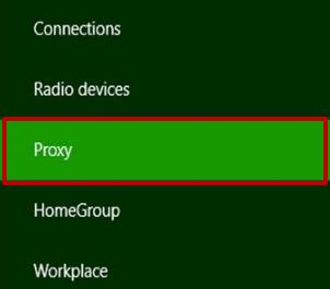 «Ağ» penceresine gidin.  «Proxy» kategorisini seçin