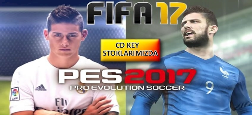 FIFA 2017 ve PES 2017 CD KEY Stoklarımızda